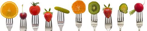 fruit on forks in a horizontal alignment