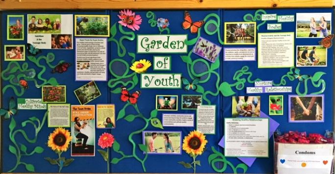 Garden of Youth wall display in Department of Public Health entry